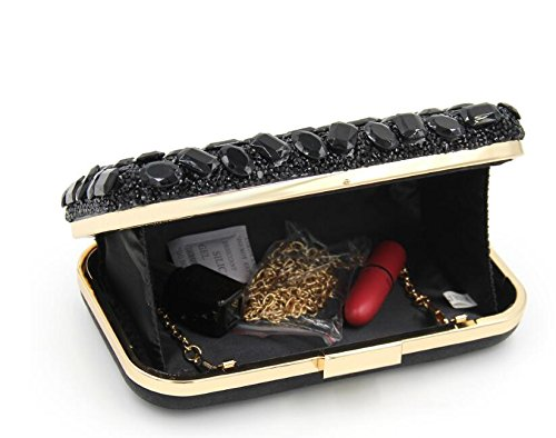 Pure Bag Clutch Diamond Women Evening Beaded Black Clutches Bag Party Purse 5EqnwndS