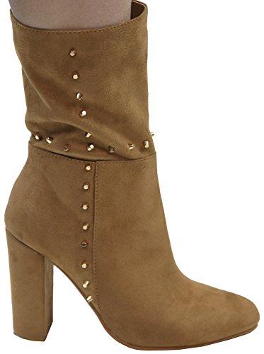 Wrapped Calf Bella Studded Toe Tan Almond Boot Heel Closed Chunky Mid Women's Marie WXvH1r0vU
