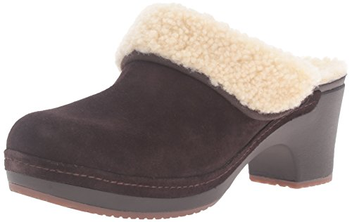 crocs Women's Sarah Luxe Lined Clog Mule, Espresso, 7 M US - Genuine Leather Croc