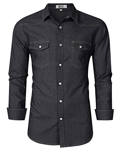 MrWonder Mens Casual Fit Button Down Shirts Short Sleeve Denim Shirts Western Shirt (XL, Dark Grey)