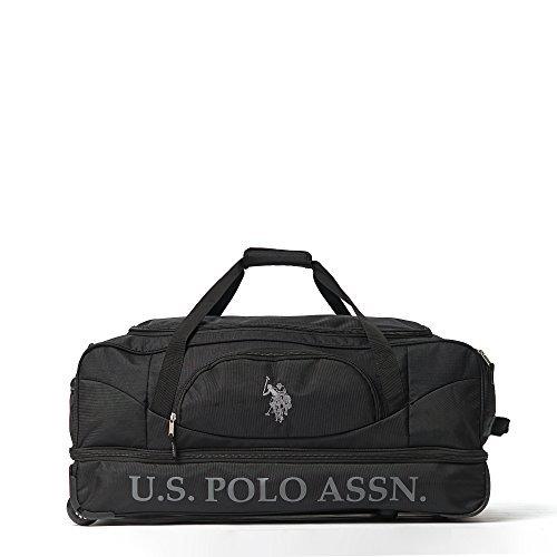 U.S. Polo Assn. Men's 30in Deluxe Rolling Duffle Bag, Split Level Storage, Black