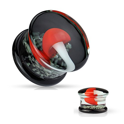 (Dynamique Pair Pyrex Glass Double Flared Plugs Black Back with Red and White Mushroom on Glow in Dark Sparkles)