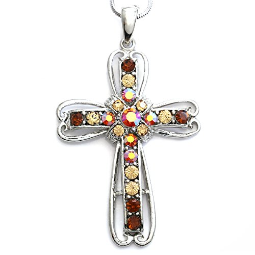 Brown Snake Pendant (Brown Christian Cross Necklace Pendant Charm Snake Chain Fashion Jewelry)