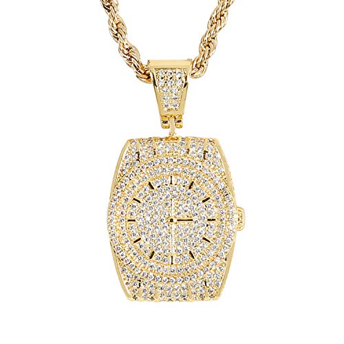 AOVR Men's 18k Gold Plated CZ Rhinestone Fully Iced Out Watch Tag Twist Chain Pendant