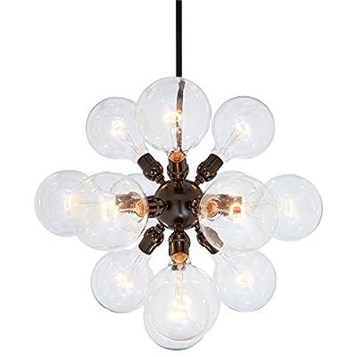 """Rivet Satellite 15-Bulb Chandelier, 44.75"""" H, with Bulbs, Black"""