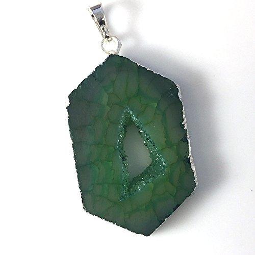 Silver plated Brass Druzy Pendant - Druzy Agate Quartz -Geode Window Druzy Charm (GREEN)