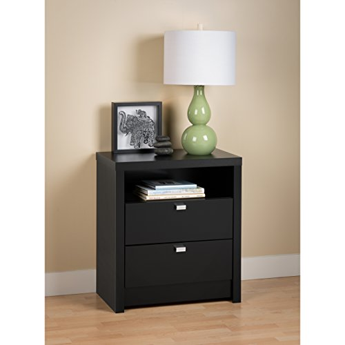 Black Series 9 Designer - Tall 2 Drawer Nightstand by Prepac