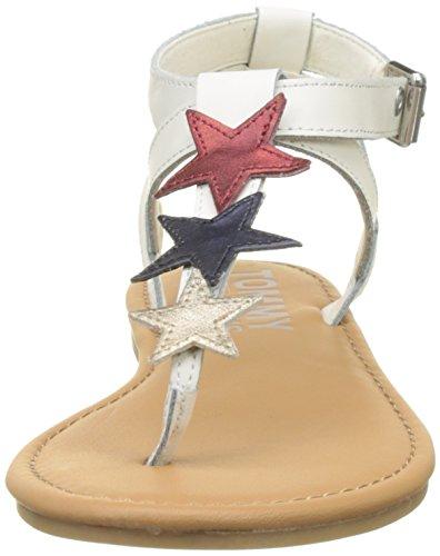 Hilfiger Vrouwen Platte Sandalen Glitter Badge T-wit Dias (whisper White 121)