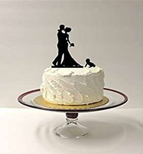 BABY BRIDE GROOM Silhouette Wedding Cake Topper Family Of 3 Bride Groom Child
