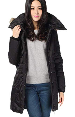 Adelina Ladies Quilted Jacket Winter Solid Color with Trenchcoat Mode Pockets with Belt with Zipper with Drawstring Coats Trendy Outerwear Hooded Jacket Schwarz