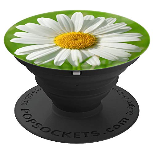 Cute White Daisy Flower On Green Grass Field Background - PopSockets Grip and Stand for Phones and -