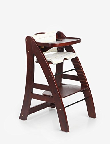Sepnine Height Adjustable Wooden Highchair Baby High Chair with Padded Cushion 6511 (Dark Cherry) ... ()