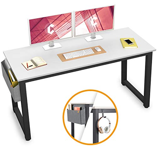 """Cubiker Computer Desk 47"""" Sturdy Office Desk Modern Simple Style Table for Home Office, Notebook Writing Desk with Extra Strong Legs, White"""