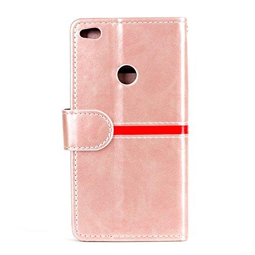 YAJIE-Carcasa Funda Para Huawei P8 Lite (2017), diseño de cierre magnético de la PU del remiendo de la carpeta del tirón de la caja protectora con el soporte de la ranura para tarjeta ( Color : Rose G Rose Gold
