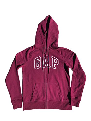 GAP Womens Fleece Arch Logo Full Zip Hoodie (XL, Dark Burgundy) from GAP