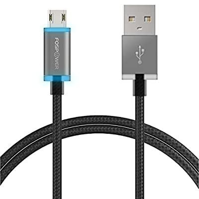 Reversible Micro USB Cable, FosPower Glow LED Micro USB-B to USB Charging Cable [Qualcomm Quick Charge 3.0 | Nylon Braided] Fast Speed Synce Data Transfer Cord