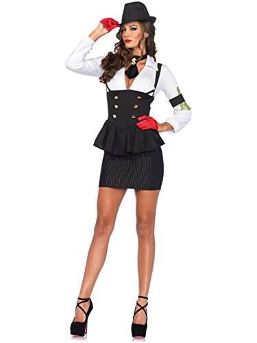 Mobster Women Costume (Leg Avenue Women's 3 Piece Machine Gun Molly Gangster Costume, Black/White, Small)