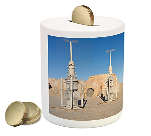 Ambesonne Galaxy Piggy Bank, Illustration of Town of Famous Movie Set on The Planet Fantasy Outer Space Theme, Printed Ceramic Coin Bank Money Box for Cash Saving, Brown Blue