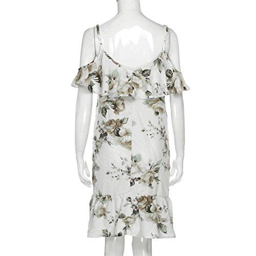 Vestidos Floral Cuello Irregular de Mujer Elegante Estampado Fiesta Casual redond Largos Traje 2018 Falda Sexy Vestido Dobladillo Verano de EUZeo Vestidos con de Playa Blanco Fiesta rdrvYgAq