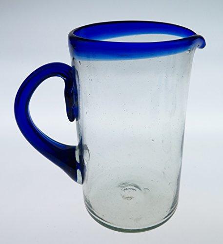 - Mexican Glass Margarita or Juice Pitcher, Blue Rim, Straight 2 Quarts 64 oz.
