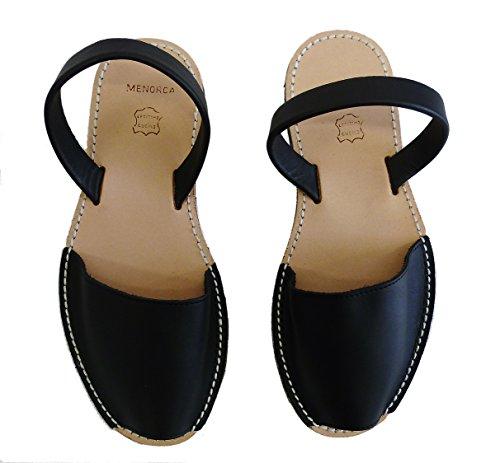 Avarcas menorquínas con tacón / cuña de 4,8 cm, varios colores, abarcas, albarcas, sandalias … Negro box