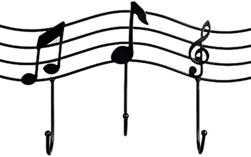 Negro SODIAL Gancho de la puerta de nota musical de hierro creativo Gancho percha de pared fuerte Clavo gratis