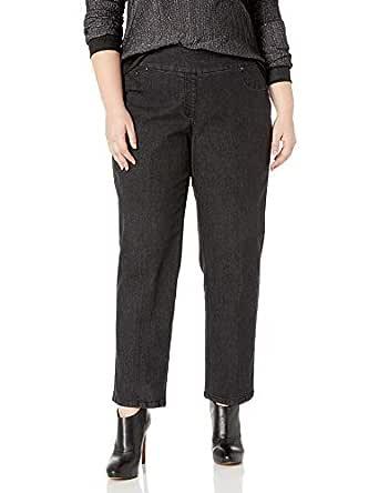 RUBY RD. Women's Plus-Size Pull-on Extra Strech Denim Jean, Black, 14W