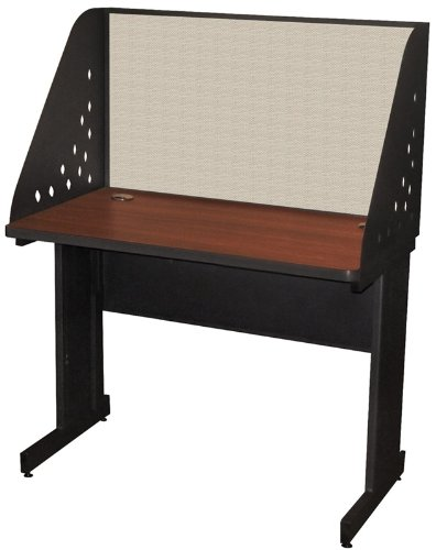 Computer Side Carrel - Pronto School Training Table With Carrel And Modesty Panel Back 42W X 24D Dark Neutral Finish And Chalk Fabric