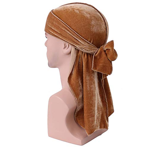 Vpang Unisex Deluxe Durag Velvet Bandana Hat Extra Long Tail Hologram Headwraps Pirate Cap Hip-hop Cape Hat Turban Headwear (Khaki)