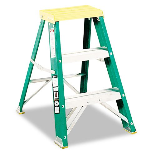 624 Folding Fiberglass Step Stool - Louisville #624 Folding Fiberglass Locking Two-Step Stool, 17w x 22 Spread x 24h, Yellow