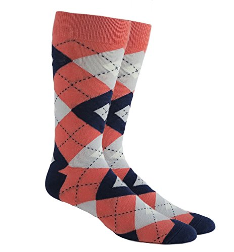 Argyle Socks Grooms Socks Wedding Socks Orange Dark Coral Navy Blue Grey