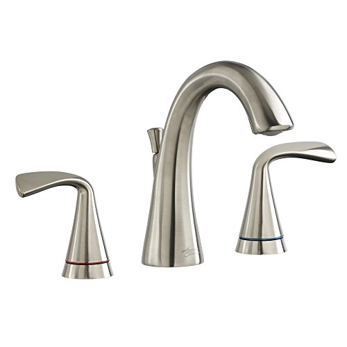 American Standard 7186811.295 Fluent 8'' Widespread Bathroom Faucet with Speed Connect Drain & Color Indicator, Satin Nickel by American Standard