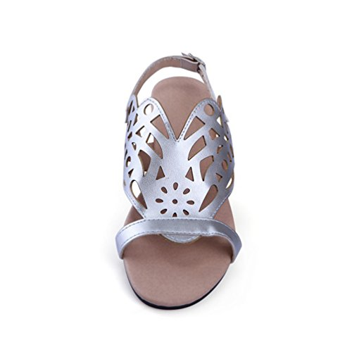 YOUJIA Women Cut Out Peep Toe Flat Shoes Buckle Ankle Strap Roman Sandals Silver Lt6VgpE