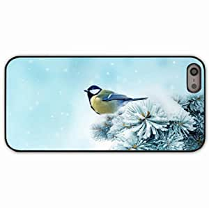iPhone 5 5S Black Hardshell Case chickadee spruce snow Desin Images Protector Back Cover