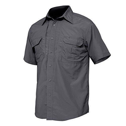 Nylon Ripstop Tactical Shirt - TACVASEN Men's Cheap Casual Nylon UV Protection Short Sleeve Shirt Gray,US M=Tag XL