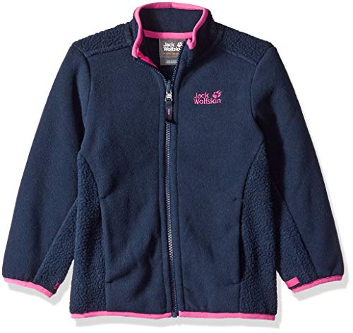 Jack Wolfskin Girl's Arctic Wolf Fleece Midweight Zip-in Fleece Jacket, Midnight Blue, - Taffeta Midnight Jacket