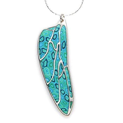 Parure Papillon d'Argent - Aile Millefiori Multicolore - Nervures d'argent Fait main - Petit modèle 3.6cm