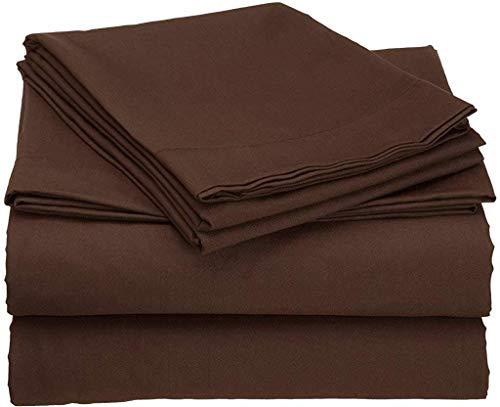 (RRlinen 4 PCs Sheet Set with Luxury Comforts 500 TC Upto 15'' Deep Drop (Chocolate, Twin XL))