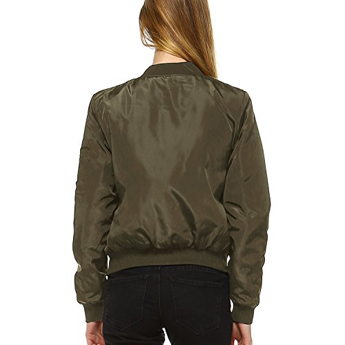 Fashionazzle Women's Classic Solid Short Padding Bomber Jacket (Small, BMJ02-Olive)