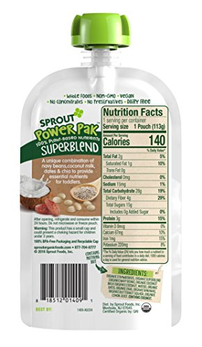Sprout Organic Baby Food Pouches Sprout Organic Power Pak Toddler Food Pouch, Strawberry with Superblend Banana & Butternut Squash, 4 Ounce(Pack of 12); USDA Organic, 3 Grams of Protein,Plant Powered by Sprout (Image #2)
