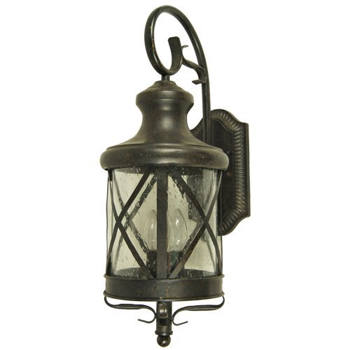 Y Decor EL543OR-M Modern, Transitional, Traditional 3 Light Exterior Outdoor Wall Scone Fixture Oil Rubbed Bronze with Clear Seedy Glass Medium, Oil Rubbed Bronze, Brown