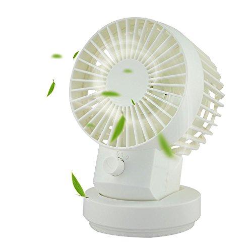 Welltop USB Mini Fan 2 Speed Modes Dual Blades Mini Desk Fan Oscillating Table Fan USB Fan Adjustable Small Personal Fan (White) (Usb Fan Oscillating compare prices)