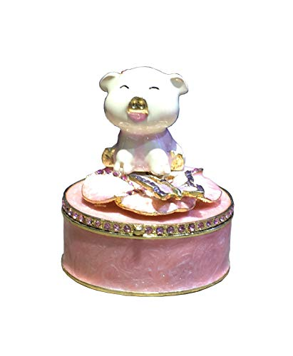 znewlook Miniature Pig Pewter Bejeweled Hinged Trinket Box Hidden Treasures Pig Trinket Box Gift (5x5x6.7 cm) ()