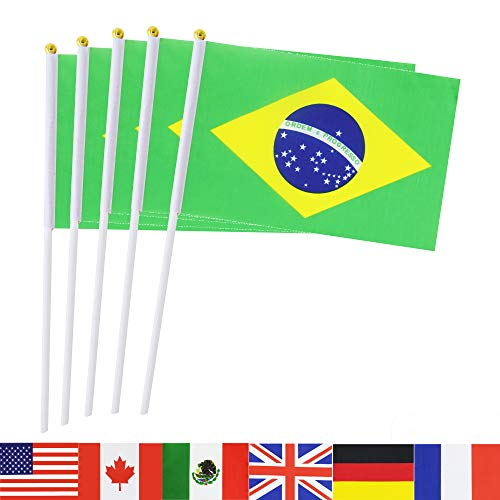 Brazil Stick Flag,TSMD 50 Pack Hand Held Small Brazilian National Flags On Stick,International World Country Stick Flags Banner,Party Decorations For World Cup,Sports Clubs,Festival Events Celebration