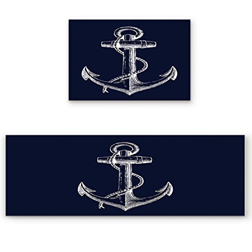 (2 Piece Non-Slip Kitchen Bathroom/Entrance Mat Absorbent Durable Floor Doormat Runner Rug Set - Nautical Anchor Navy Blue )