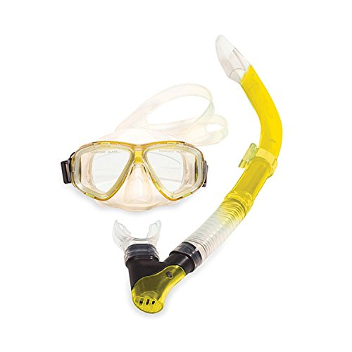 Silicone Pro Snorkel - Swim Central Yellow Newport Silicone-Pro Teen or Adult Scuba Mask and Snorkel Dive Set