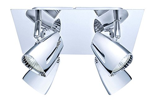 Eglo 200827A 4x35W Square Ceiling Track Light, Chrome Finish Chrome 4 Lamp Spotlight