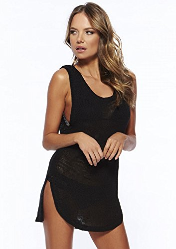 YACUN Mujer Traje de baño Beach Knit Vest Dress negro