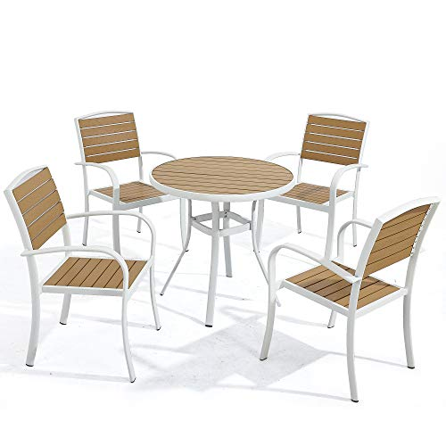 D Garden White Patio Aluminum Dining Chairs Set of 4 and White Round Dining Table 31.5 D – Stackable Chairs, 5-Piece Furniture Set, Imitation Wood, Modern