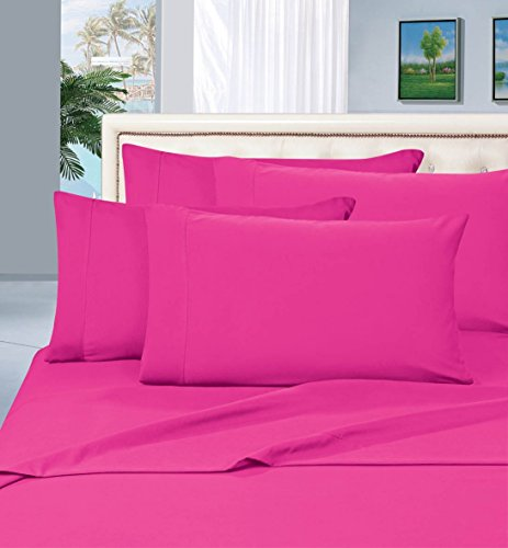 Elegant Comfort 1500 Thread Count Wrinkle & Fade Resistant Egyptian Quality Hypoallergenic Ultra Soft Luxurious 4-Piece Bed Sheet Set, Queen, Hot Pink